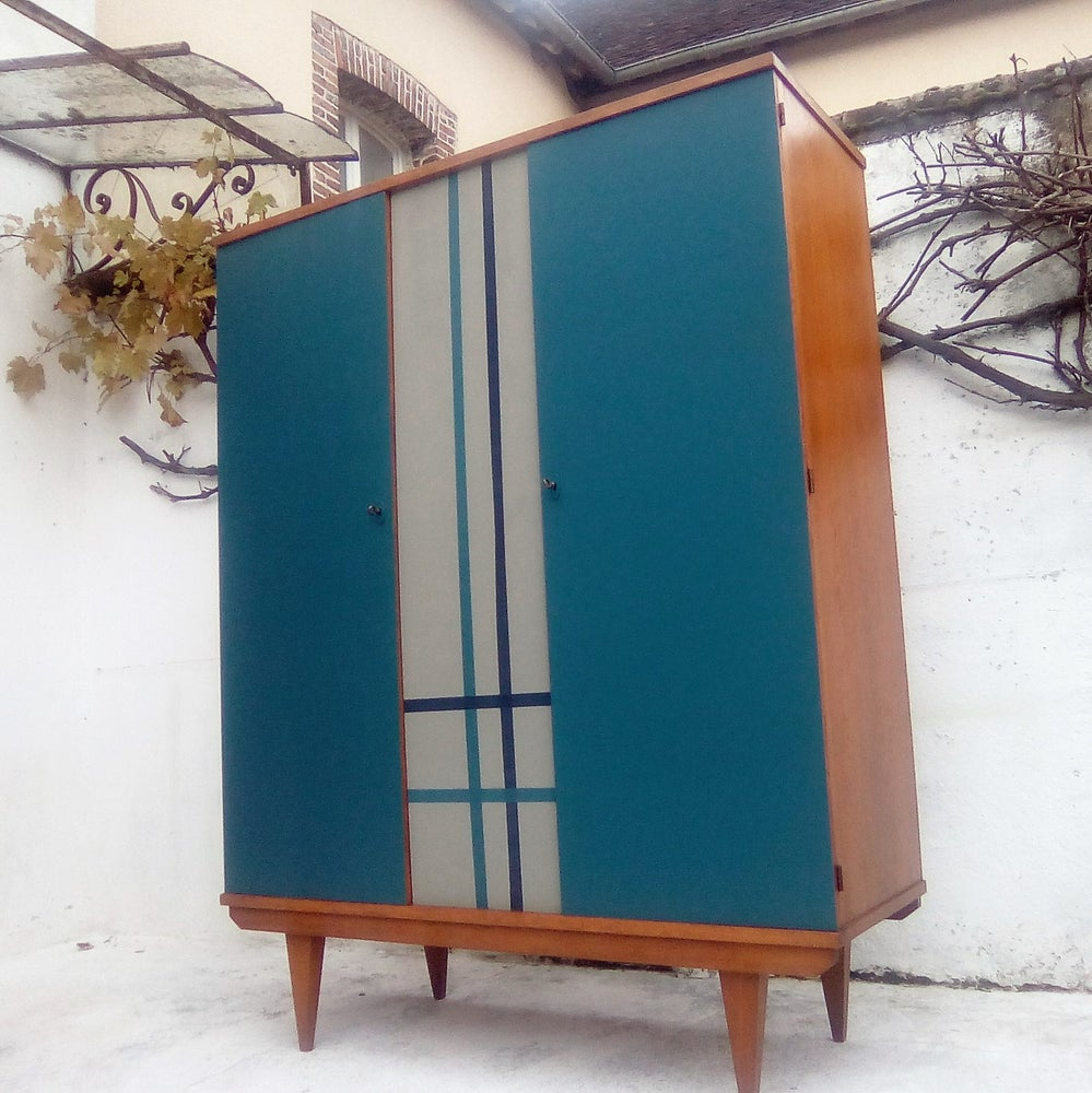 Image of Armoire penderie style écossais