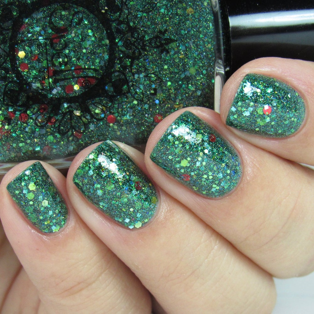 Image of ~Holly~ green jelly with green, gold & red glitters and multichrome flakes!