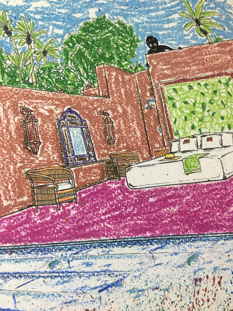 "Image of ""Villa Morocco #2"" Original Mixed Media Artwork"