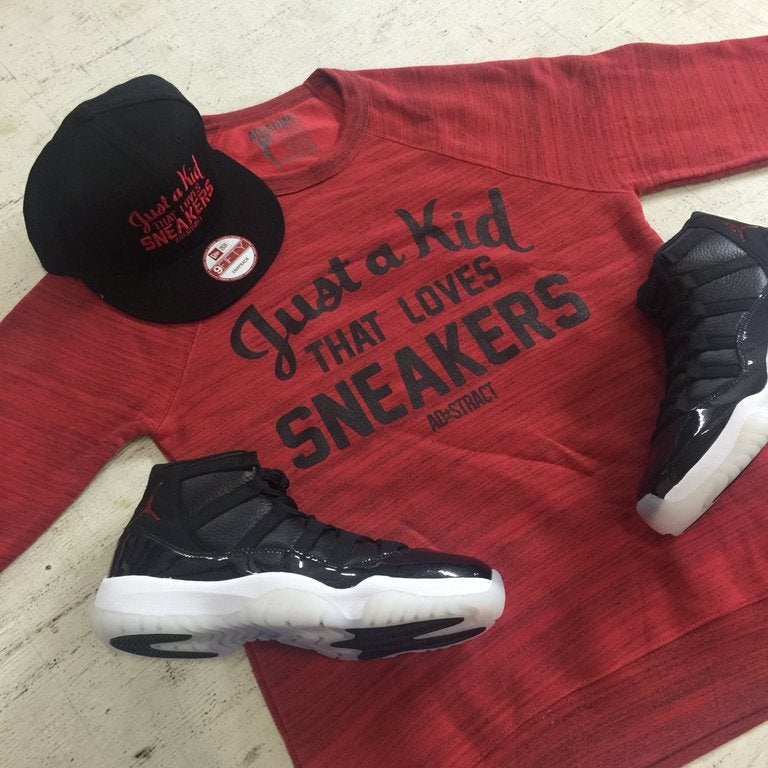 """JUST A KID THAT LOVES SNEAKERS """"RED OR GREY MARBLE"""" FLEECE CREWNECK"""
