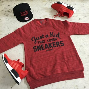 "Image of JUST A KID THAT LOVES SNEAKERS ""RED OR GREY MARBLE"" FLEECE CREWNECK"