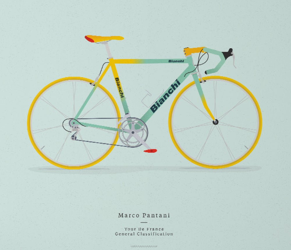 Image of Pantani's Bianchi A3 or A4 print - by Parallax