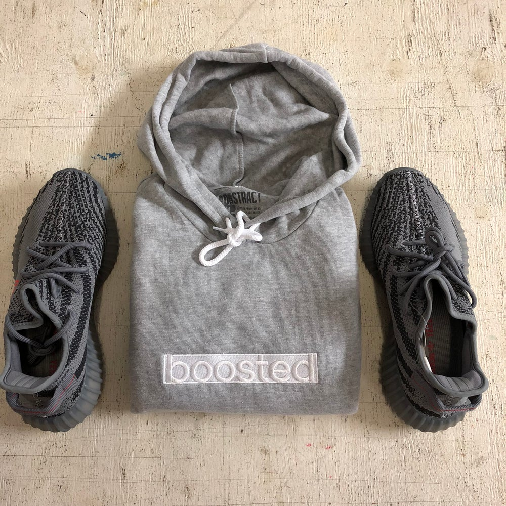 """BOOSTED LONG""""WHITE ON WHITE"""" EMBROIDERY HOODY"""