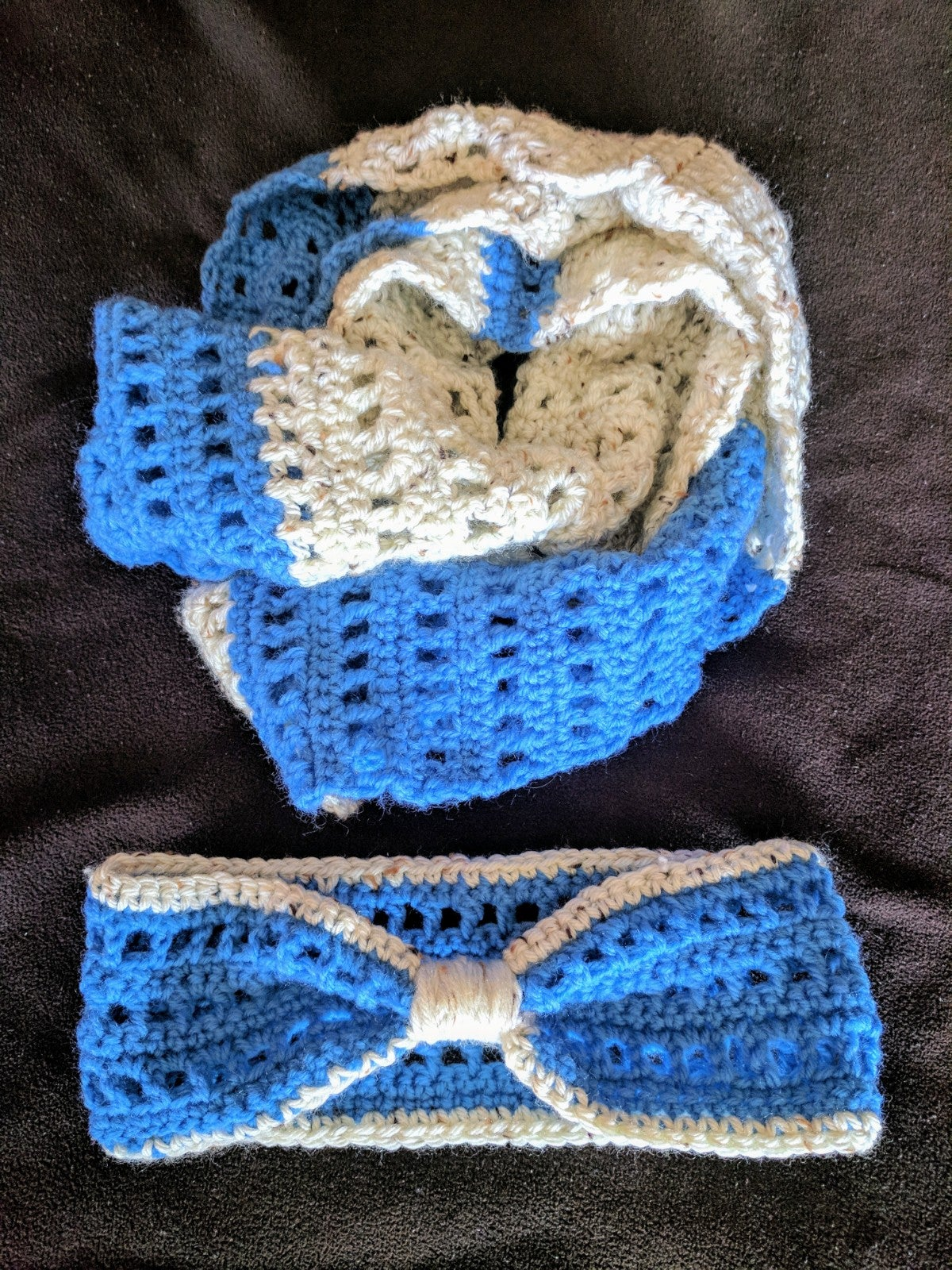 Image of Custom Crochet Infinity Scarf & Ear Warmer Set