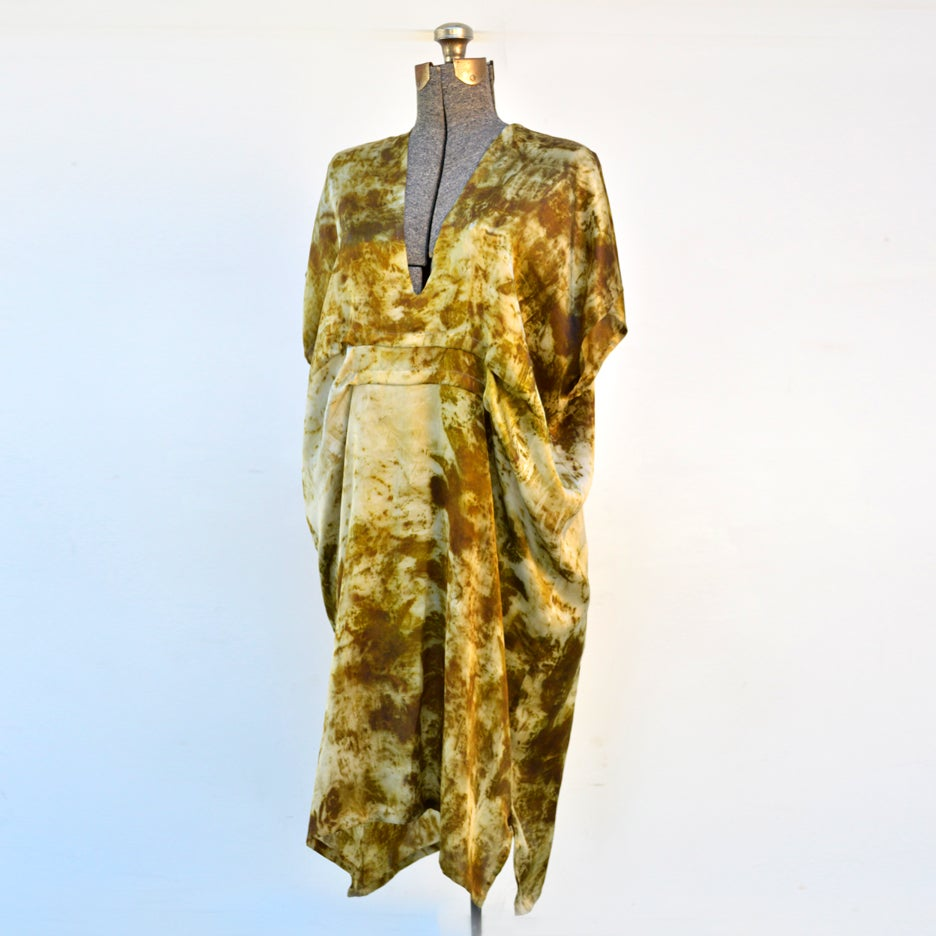 Image of mossy green easy kaftan