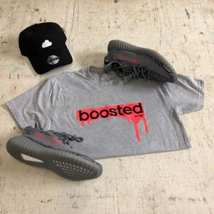 "Image of BOOSTED ""BOLD ORANGE/GREY"" HOODY OR T-SHIRT"