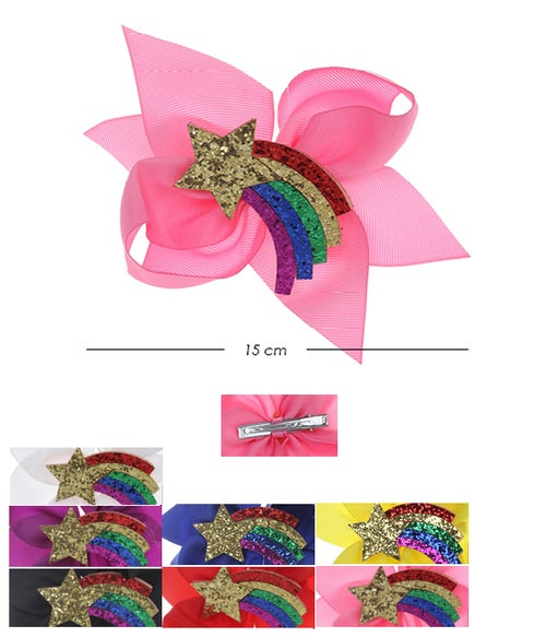 Image of Glitter Assorted Color Hair Bow HPN-4627