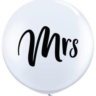 "Image of Script ""Mrs"" 3 foot balloon"