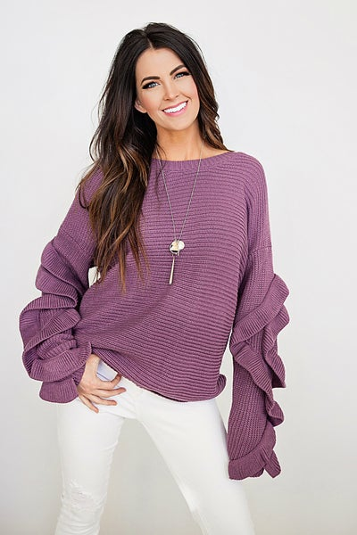 Image of Ruffle Sleeve Sweater