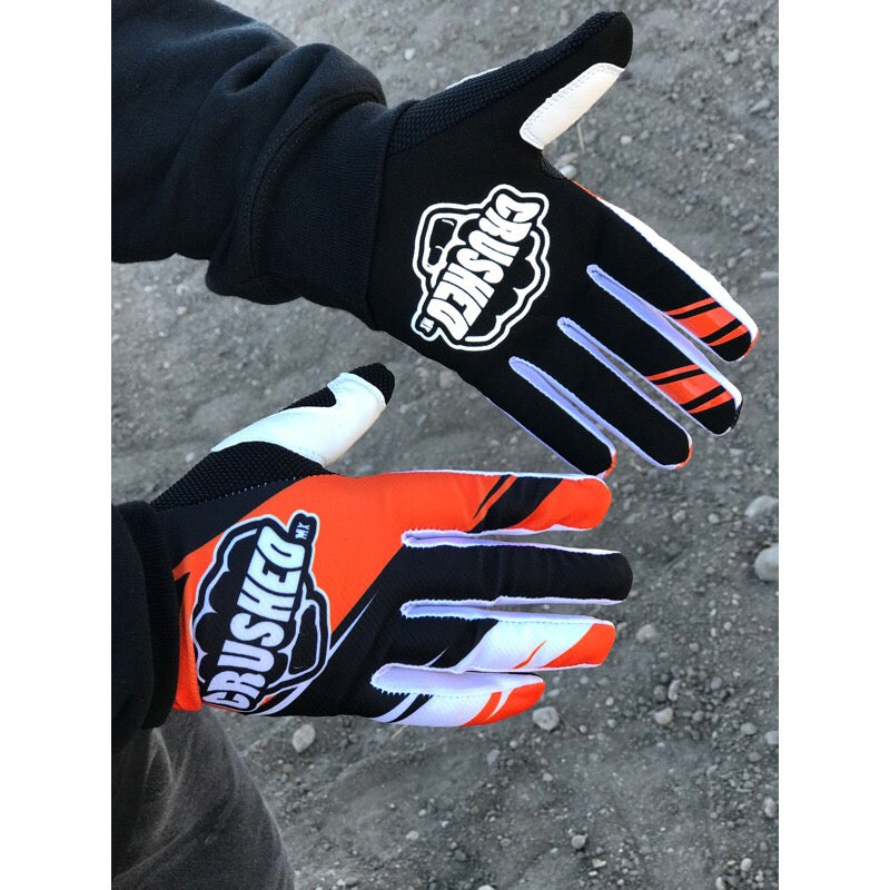 Image of Orange Black And White Crushed MX Motocross Gloves