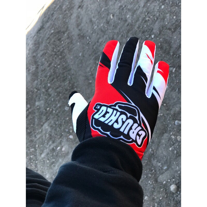 Image of Red Black And White Crushed MX Motocross Gloves