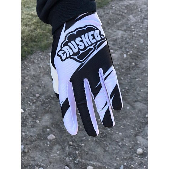 Image of Black and White Crushed MX Gloves