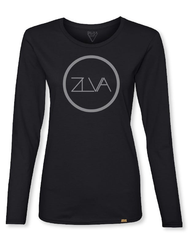 Image of ZLVA CIRCLE LOGO WOMEN'S L/S - BLACK