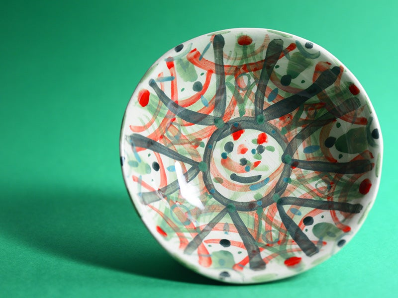 Image of Green / Red / Grey Smiley Bowl