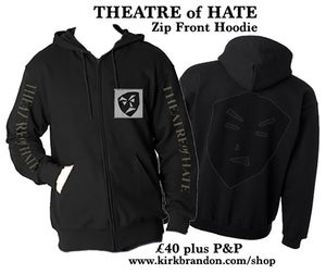 Image of THEATRE of HATE Zip Fronted Hoodie in Black