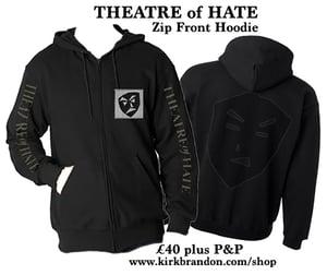 Image of THEATRE of HATE Zip Fronted Hoodie in Black