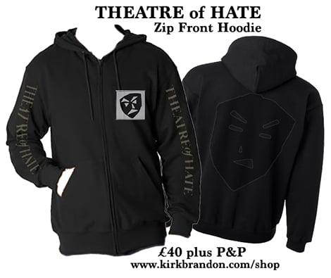 THEATRE of HATE Zip Fronted Hoodie in Black
