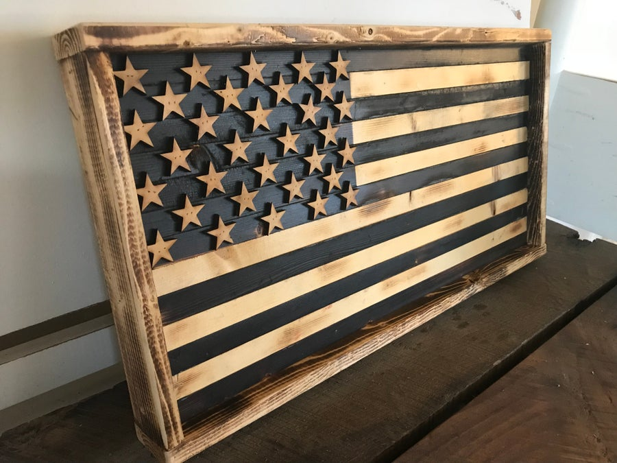Image of Small American Flag with Burned Finish