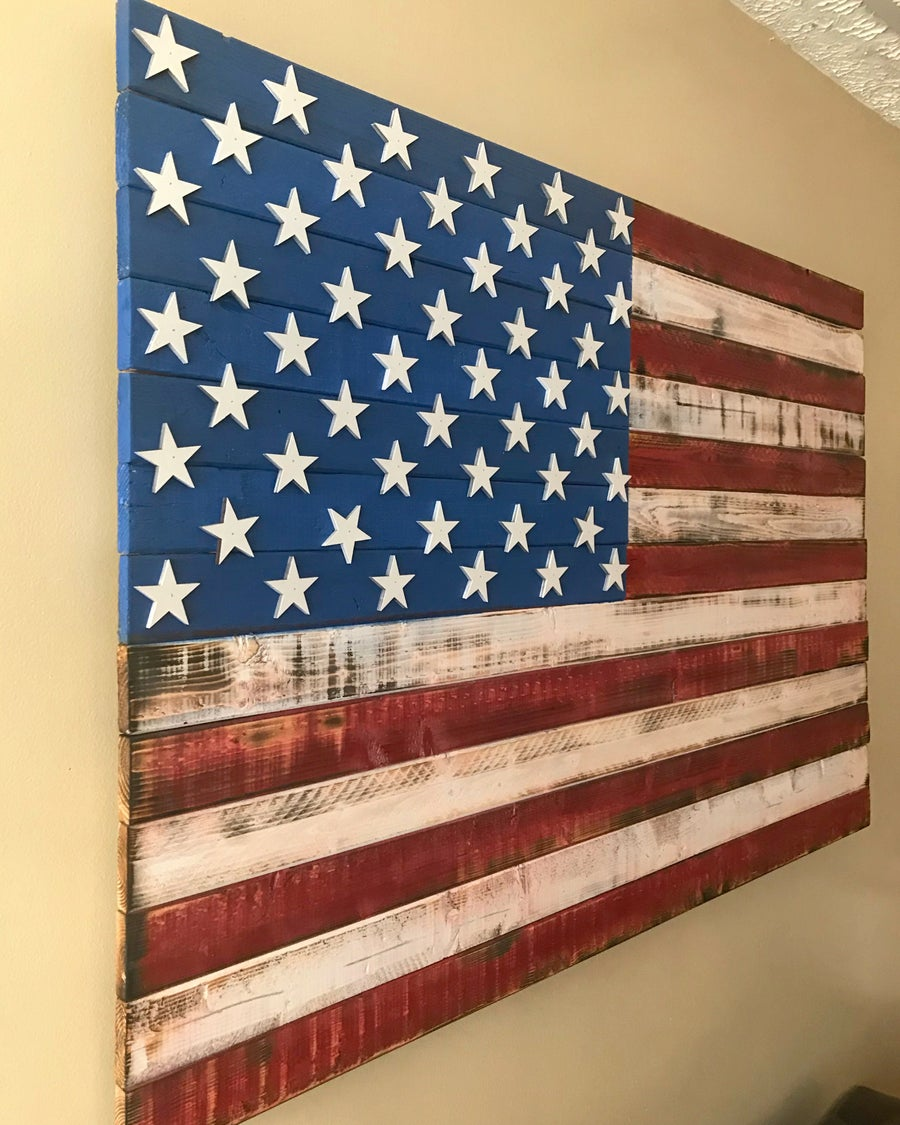 Image of Large Red, White & Blue American Flag