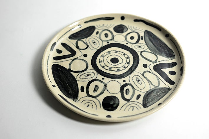 Image of Big wonky Black and White Plate