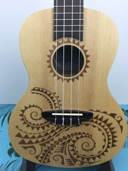 Image of Luna Tattoo Spruce Top Concert Size Ukulele