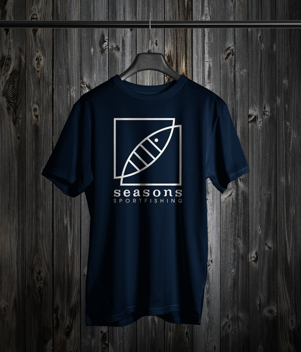 Image of SEASONS - NAVY- LOGO TEE
