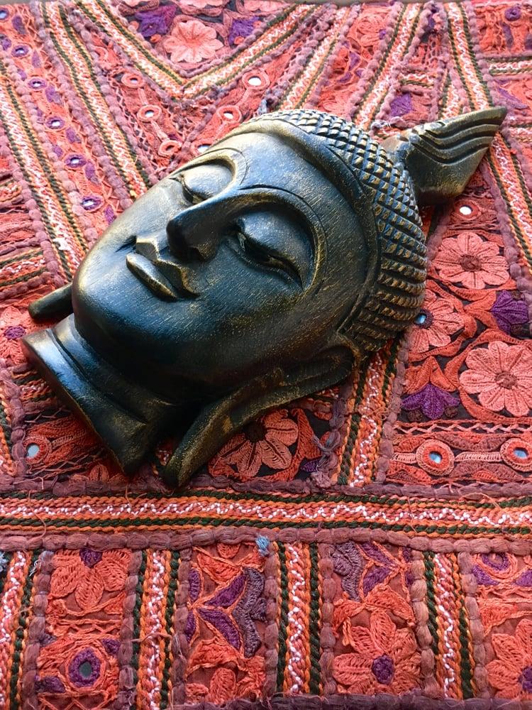 Image of Wooden Handmade Buddha Head