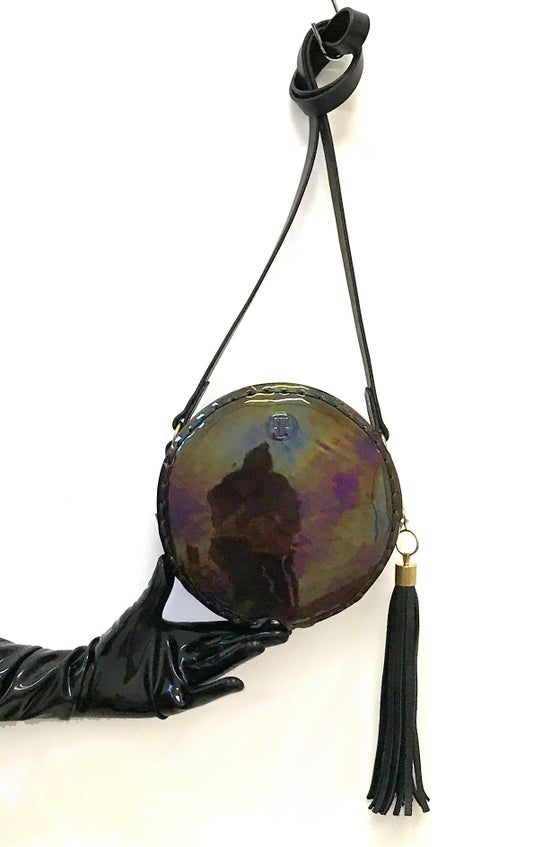 Image of Tambourine cross body bag in oil-slick patent leather