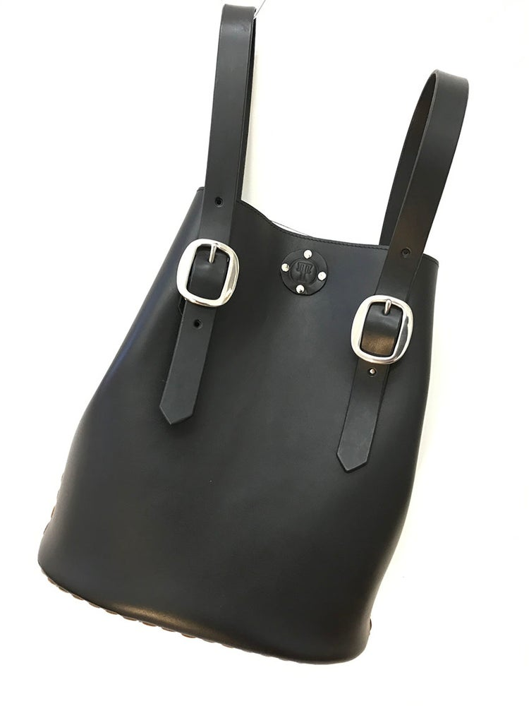 Image of Backpack tote bag in smooth black leather