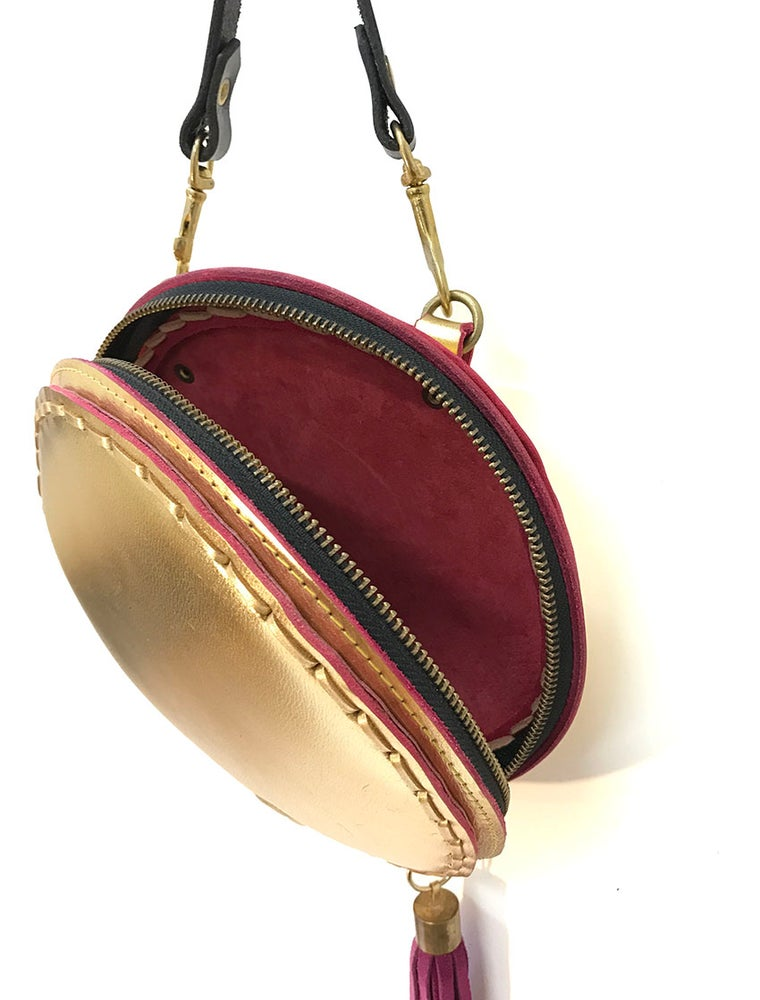 Image of Gold tambourine cross body bag