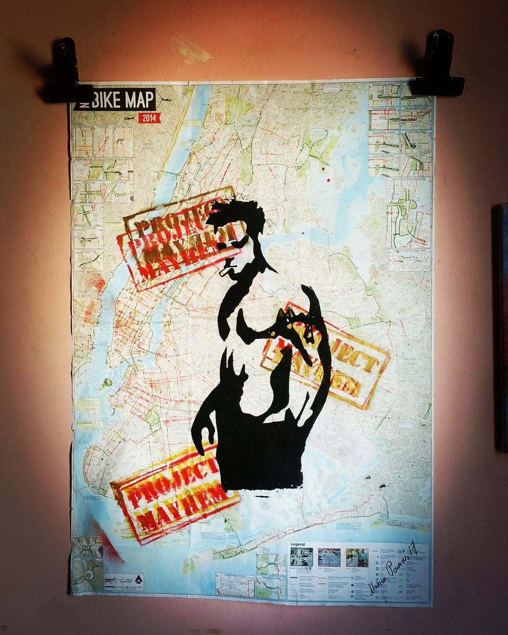 "Image of ""Fight Club."" Original Silkscreen on New York City Bike Map. Collection: ""New York Loves Me.""."