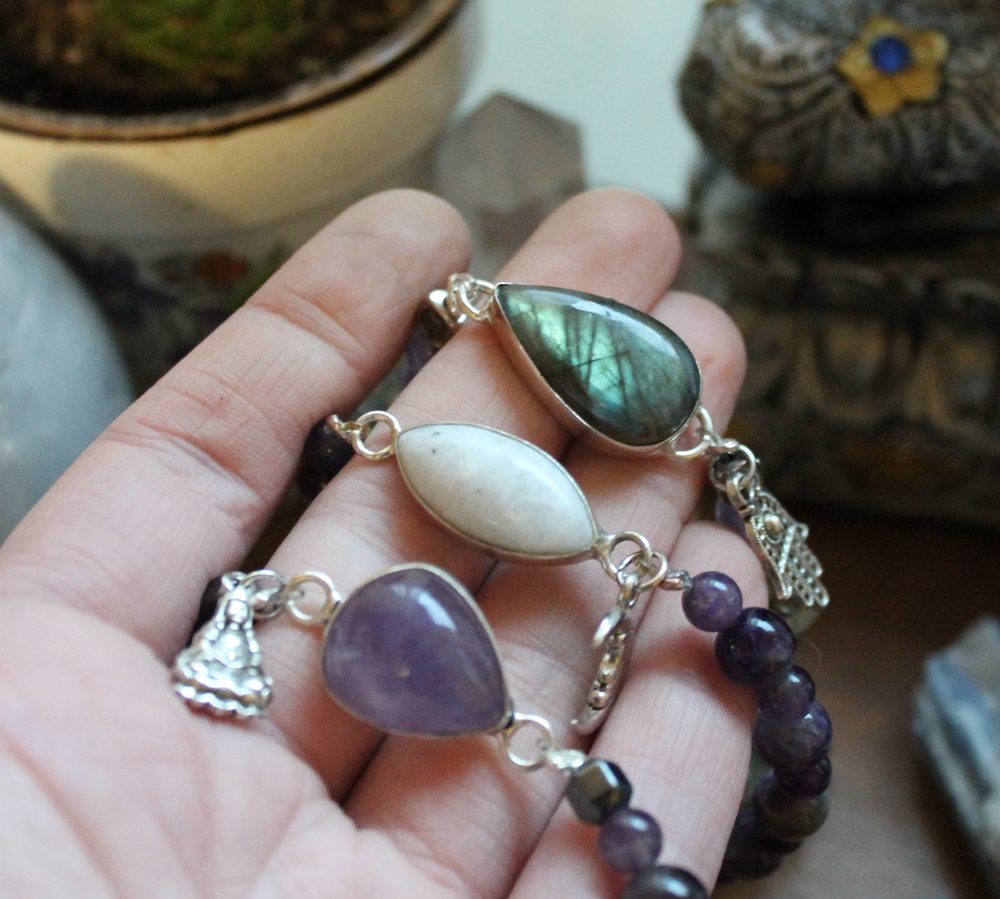 "Image of ""Profoundly Protective & Peaceful"" Talisman Bracelets (Amethyst, Labradorite, Moonstone, Hematite)"
