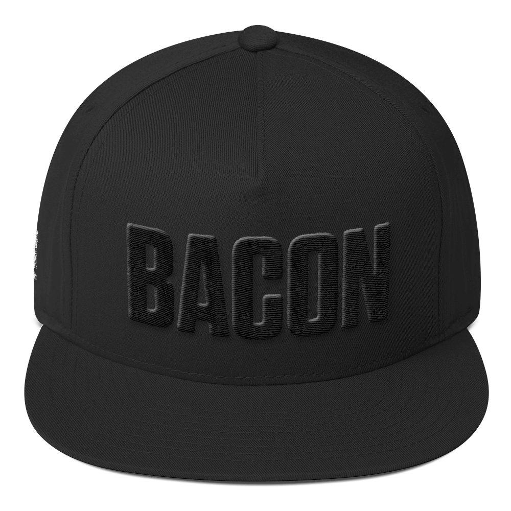Image of Bacon Embroidered Flat Bill Hat - Black