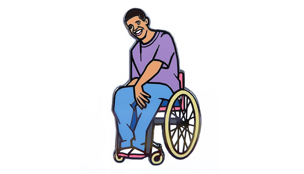Image of Wheelchair Jimmy Enamel Pin