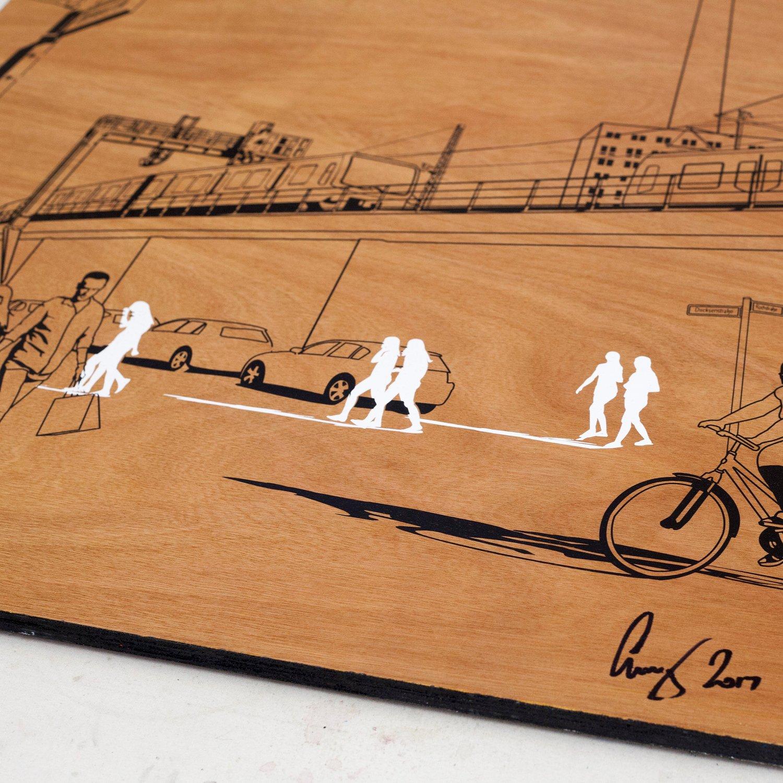 Image of Berlin sketch on wood