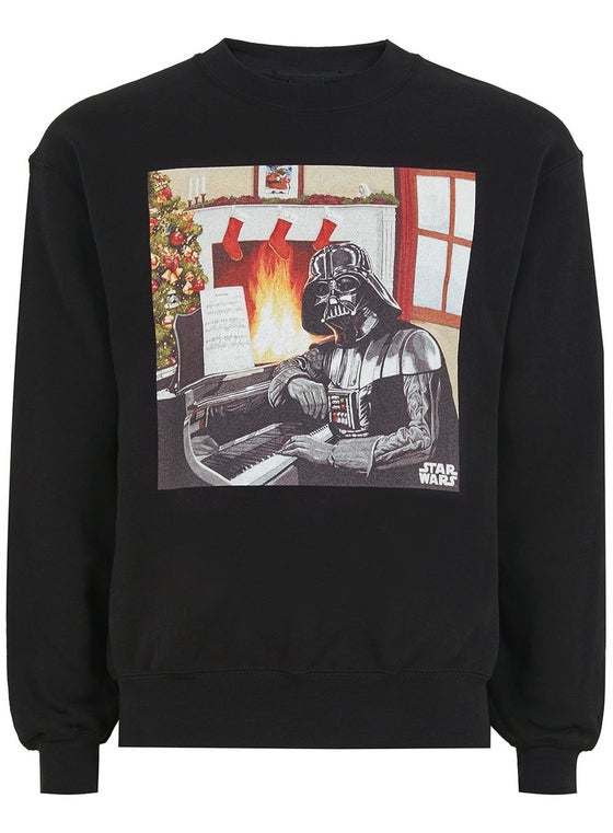 Image of Vader Playing Piano Long Sleeve Black Christmas Top/Jumper