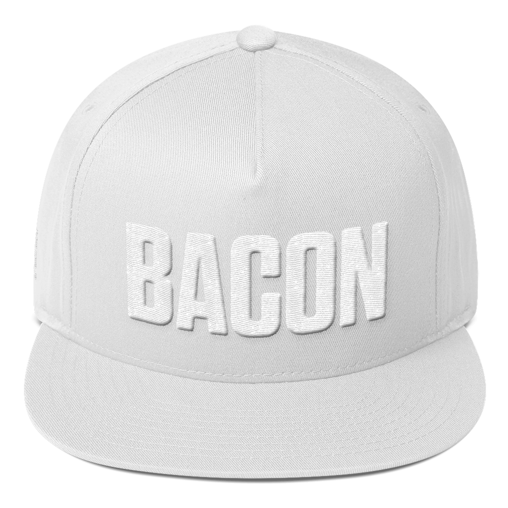 Image of Bacon Embroidered Flat Bill Hat - White