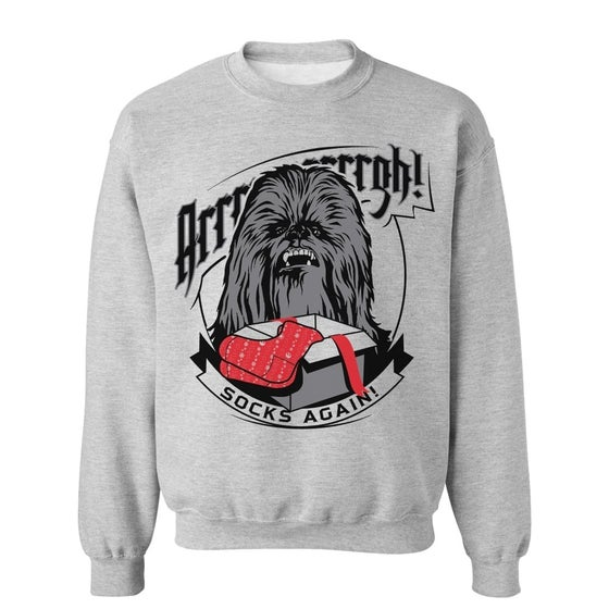Image of Christmas Chewbacca Long Sleeve Grey Christmas Top/Jumper