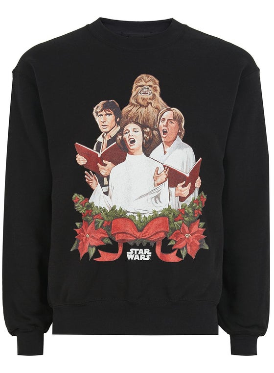 Image of Star Wars Original Cast Carol Singing Long Sleeve Black Christmas Top/Jumper