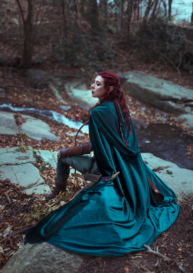 Image of Emerald Green Stretch Velvet Cloak