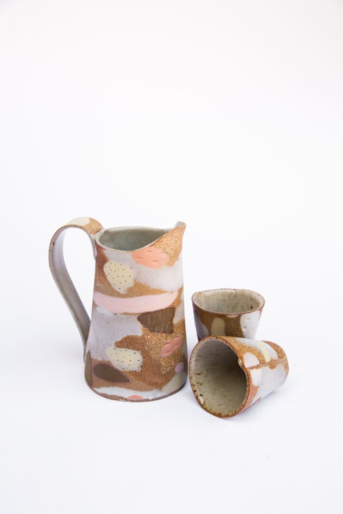 Image of Pink and yellow porcelain Inlay camo Pitcher Set Special