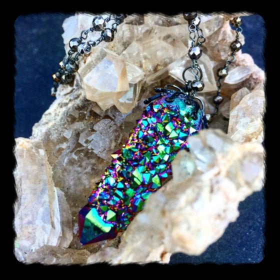 Image of For Sarah /MAGICAL (RARE) TITANIUM AURA SPIRIT CACTUS QUARTZ /OXIDIZED STERLING AND PYRITE NECKLACE
