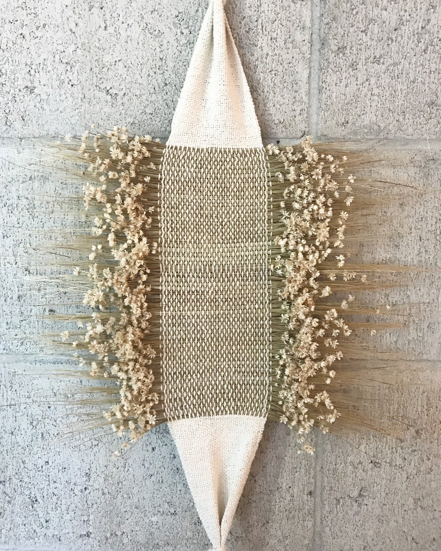 Image of Star Flower and Raw Silk Wall Hanging