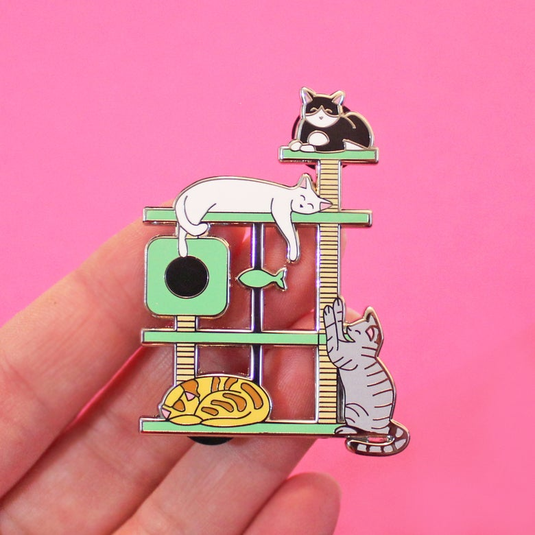 Image of XL Cat Tree, hard enamel pin -  lapel pin