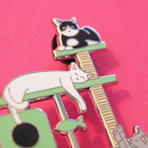 Image of XL Cat Tree, hard enamel pin - cat scratching post - flair - lapel pin
