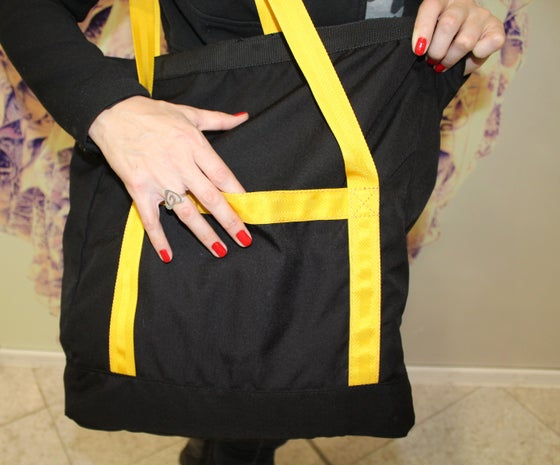 Image of Tote Bag / Black Cordura / Army Canvas Lining / Durable Roomy /Yellow Polyester Straps 403 g