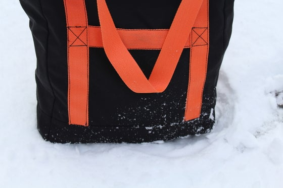 Image of Tote Bag / Black Cordura / Durable Roomy /Army Canvas Lining/Orange Polyester Straps