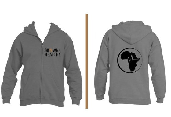 Image of Brown and Healthy Zip Hoodie (Grey)