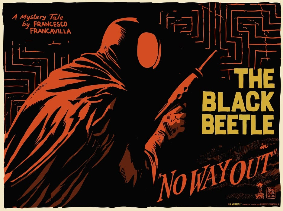 Image of The Black Beetle NWO Lobby Card Mondo Screen Print 18x24