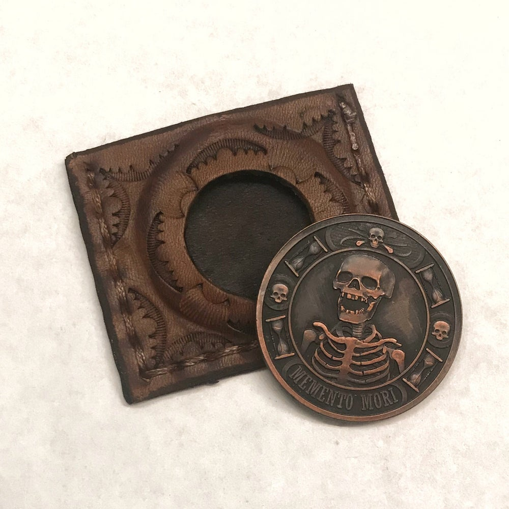 Image of Custom Leather Sleeve/Memento Mori 1oz Copper Challenge Coin